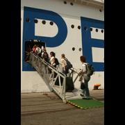 "Entering at the ""P"" of ""Peace Boat"""